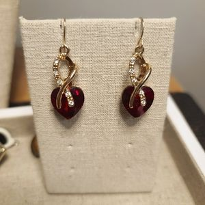 Jewelry - Gold Ribbon Earrings with Red Crystal Hearts